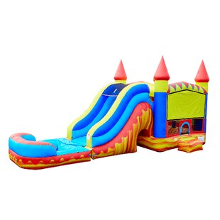 JumpOrange Turbo Blaze Titan Inflatable Water Slide Combo Bounce House