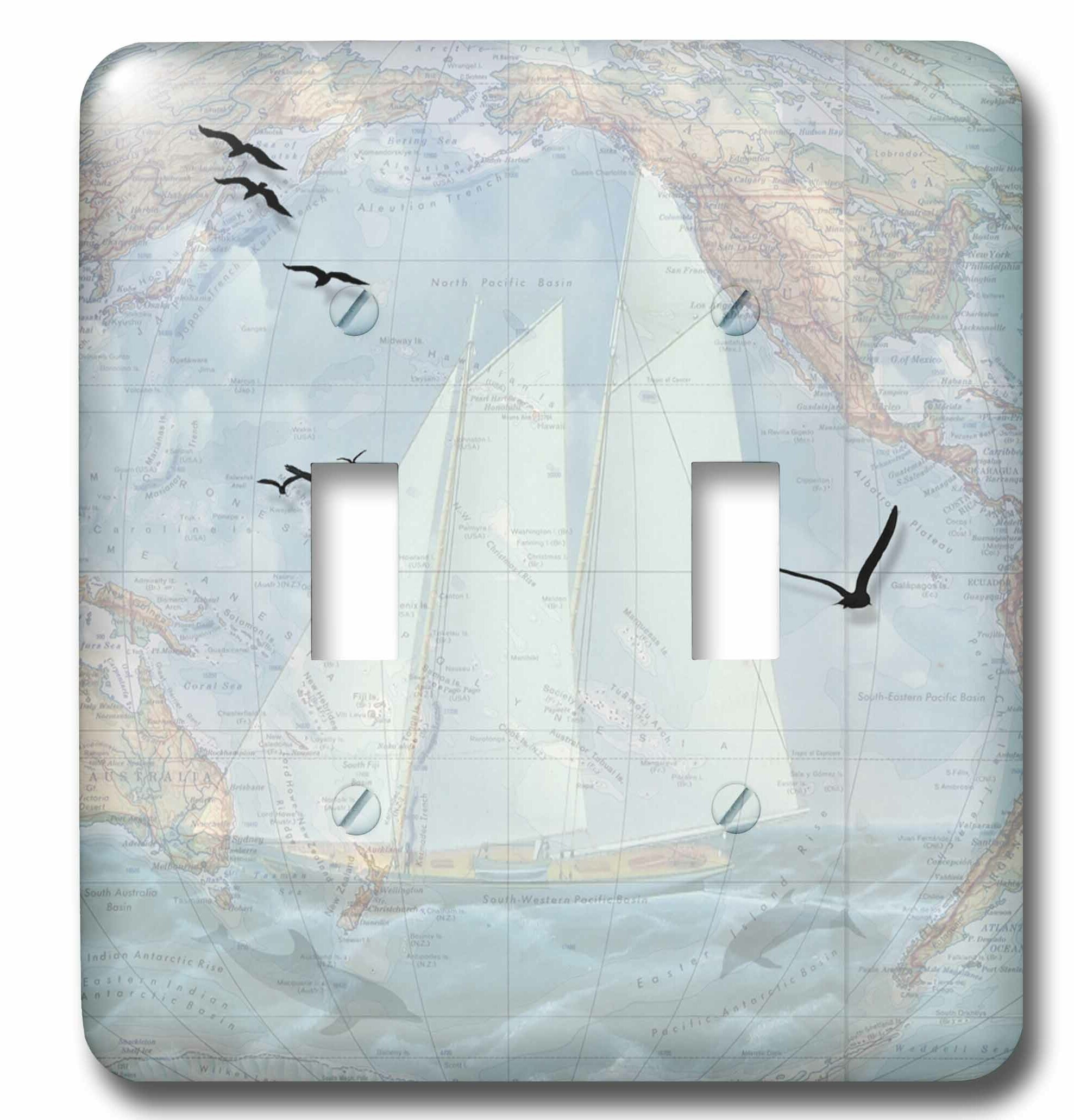 3drose Map And Sailing Ship With The Ocean Seabirds And Dolphins Very Masculine 2 Gang Toggle Light Switch Wall Plate