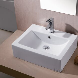 Luxier L-003 Bathroom Ceramic Rectangular Vessel Bathroom Sink with Overflow