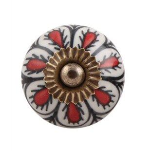 Floral Ceramic Round Knob