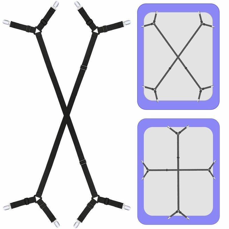 Black Triangle Non-Slip Elastic Mattress Corner Clips Bed Sheet Fasteners 2Pcs Adjustable Bed Sheet Holder Straps