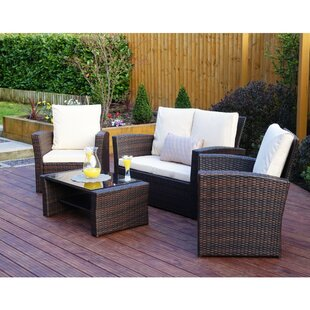 Algarve 4 Seater Rattan Effect Sofa Set
