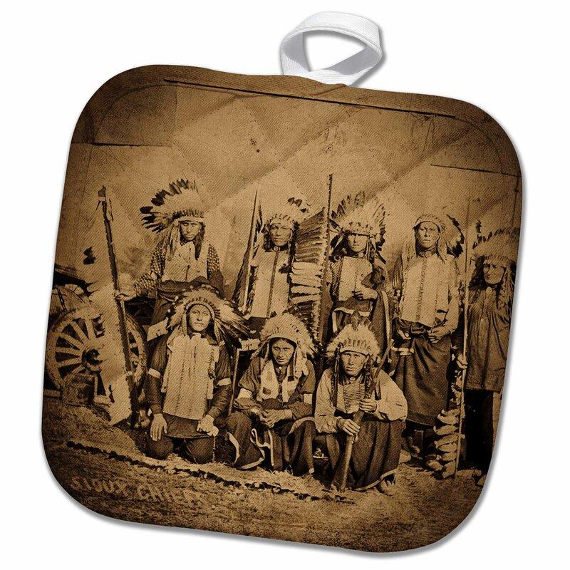 3D Rose 1895 Buffalo Bill Wild West Show Sioux Chiefs Pot Holder 8 x 8