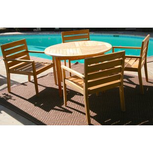 Borneo 5 Piece Teak Dining Set with Sunbrella Cushions by IKsunTeak