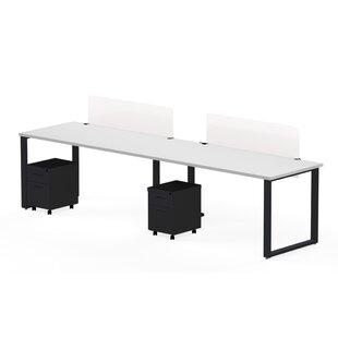 Wickstrom Benching for Two - 60 X 30 Desks, 2 - Privacy Screen, and 2 Mobile Pedestals, Designer White Laminate/Silver Finish