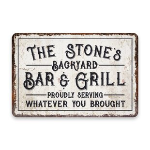 Personalized Bar Sign for Dad BBQ Grill Summer Rustic decor Wall Art