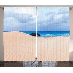 Tropical Beach Décor Graphic Print Room Darkening Rod Pocket Curtain Panels Set Of 2