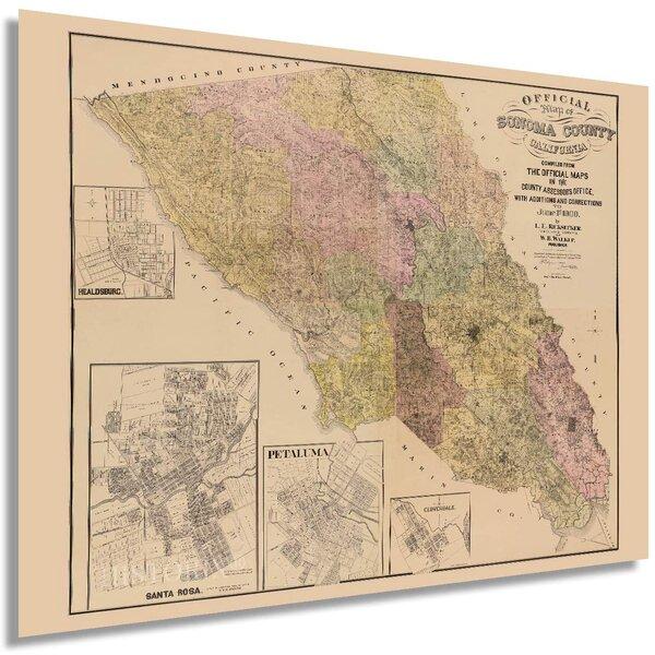 California Wall Map 43 x 29 Art Quality Print Large Los Angeles