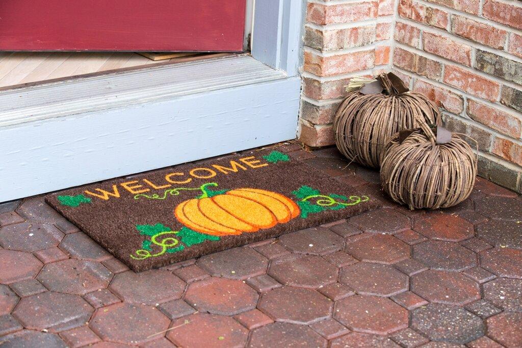 sweet home welcome pumpkin nonslip coir doormat