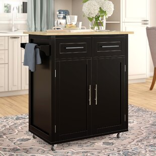 Larocca Kitchen Cart with Wood Top Alcott Hill