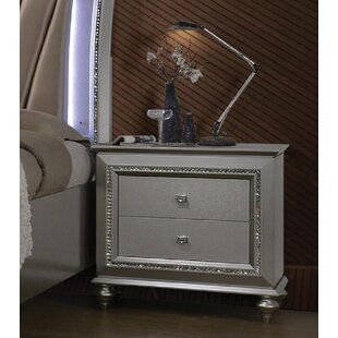 Johna 2  Drawer Nightstand in Champagne
