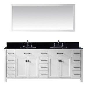 Espen Modern 78.8 Double Bathroom Vanity Set with Carrara Black Top and Mirror
