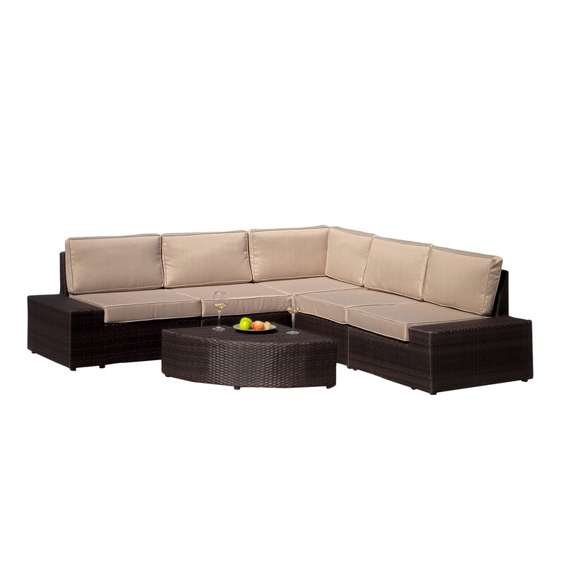 Wade Logan  Mountview 6 Piece Rattan Sectional Set with Cushions