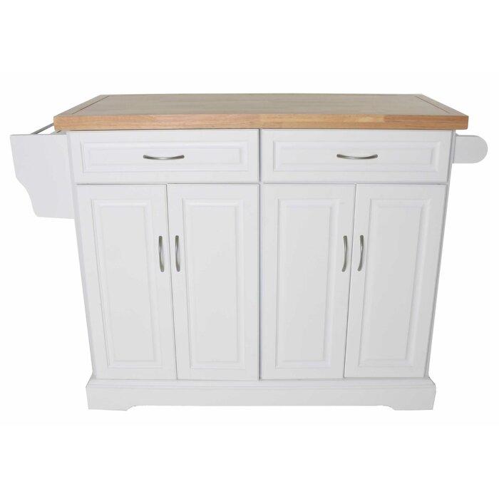 Leisha Kitchen Island with Solid Wood Top