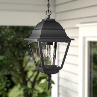 Charlton Home Ledbetter 1-Light Outdoor Clear Beveled Glass Hanging Lantern
