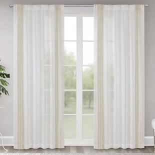 Chessington Border Embroidered Window Solid Sheer Rod Pocket Single Curtain Panel by Ophelia & Co.