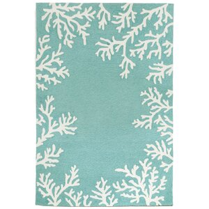 Claycomb Coral Border Aqua Indoor/Outdoor Area Rug