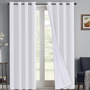 Ivybridge Waterproof Coating Solid Blackout Thermal Indoor/Outdoor Grommet Curtain Panels (Set of 2) by Darby Home Co