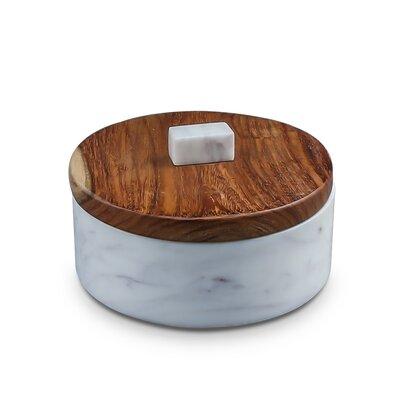 Fallston Short Sheesham Wood U0026 Marble Kitchen Canister