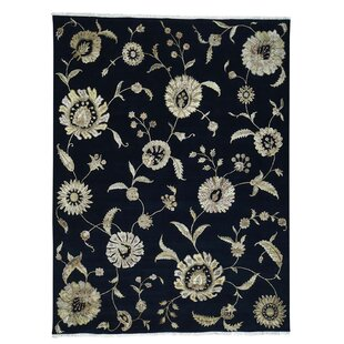 One-of-a-Kind Charette Transitional No Border Hand-Knotted Black Area Rug By Fleur De Lis Living