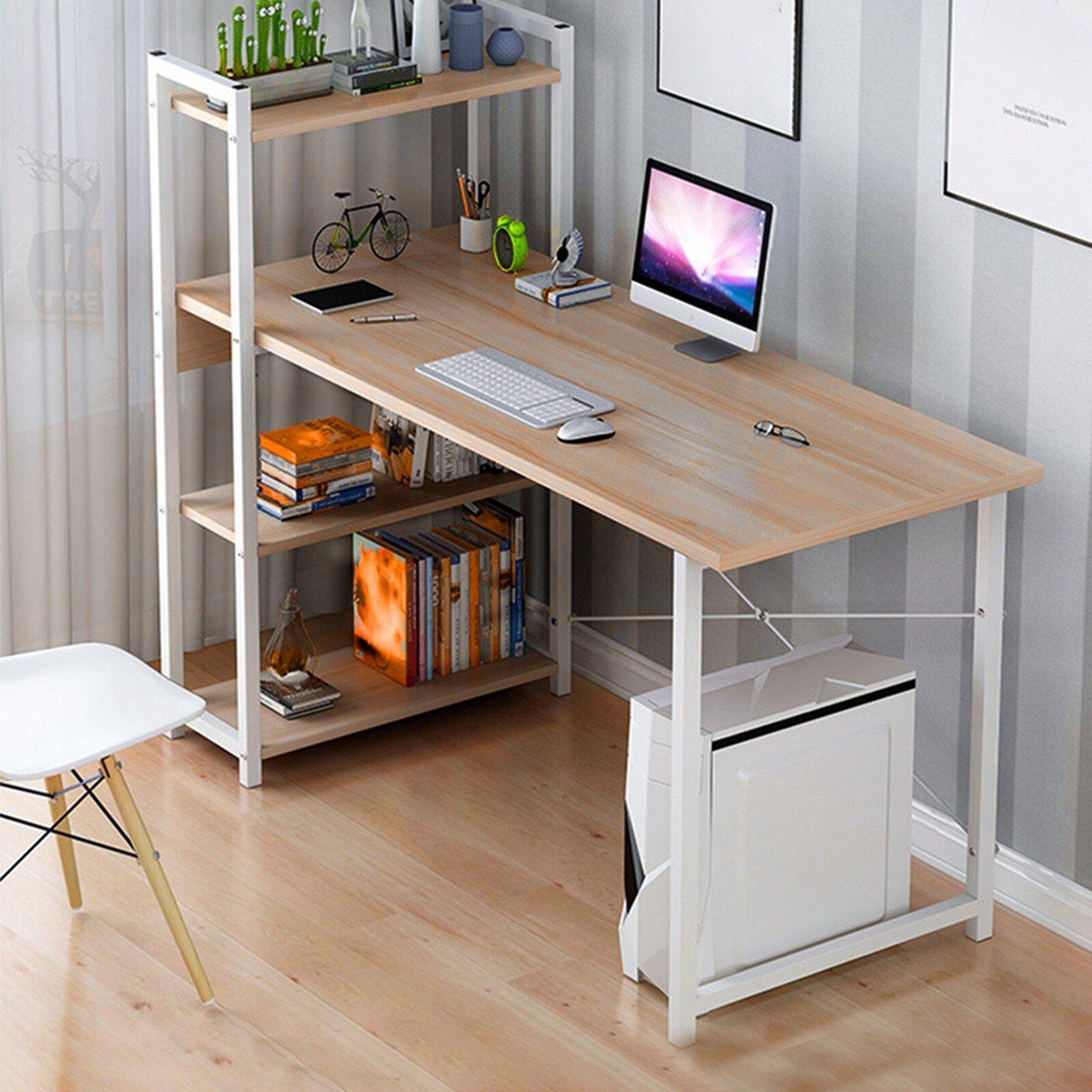 Inbox Zero Computer Desk With Bookshelf 40-Inch Home Office Desk