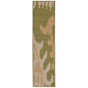 Gorski Ikat Green/Ivory Indoor/Outdoor Area Rug
