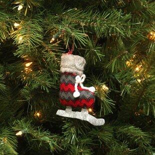 chevron plush knit ice skate christmas ornament - Ice Skating Christmas Ornaments