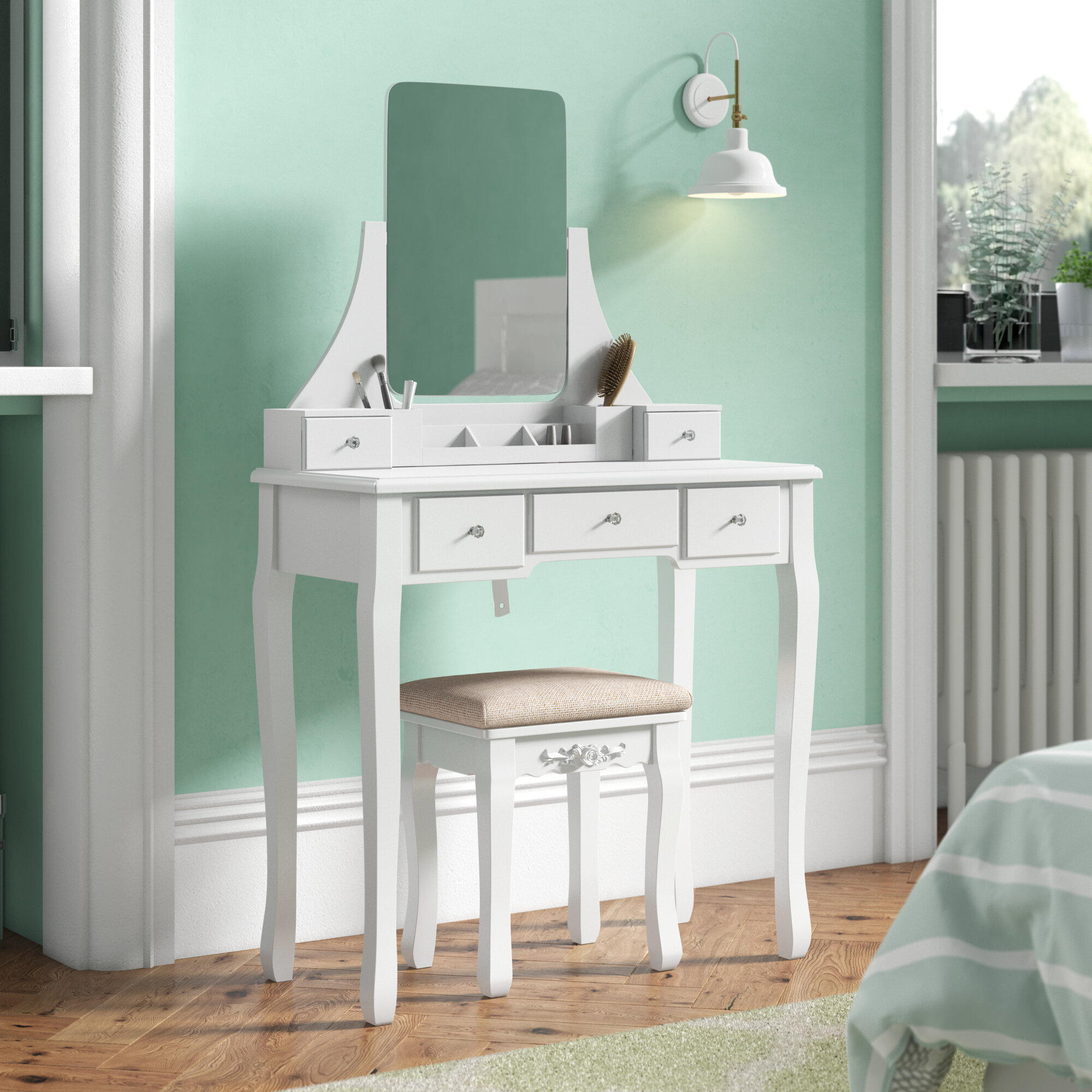 Three Posts Arkin Dressing Table Set With Mirror Reviews Wayfair Co Uk