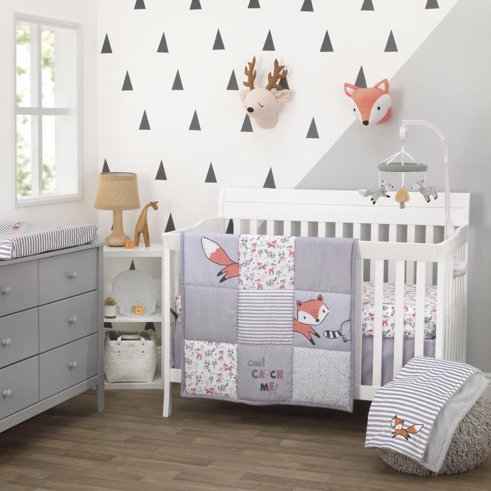 Quilt, Dust Ruffle, Diaper Stacker, Sheet Large Orange Little Haven Clever Fox 4 Piece Bed Set