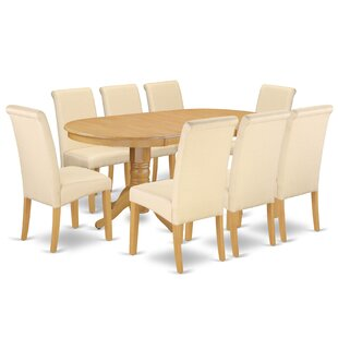 Pardue Oval Room Table 9 Piece Extendable Solid Wood Dining Set Charlton Home