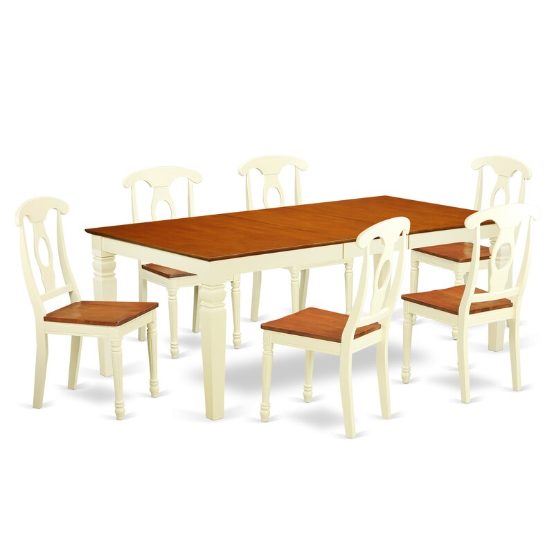 Beesley 7 Piece Buttermilk/Cherry Wood Dining Set