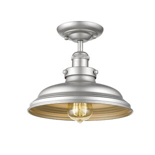 Durrah Industrial 1-Light Semi Flush Mount by Breakwater Bay