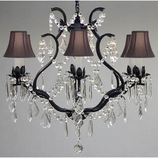 Rosdorf Park Clemence 6-Light Fabric Shade Shaded Chandelier