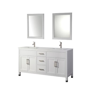 Brayden Studio Denault 84 Double Sink Bathroom Vanity Set Base Finish: White