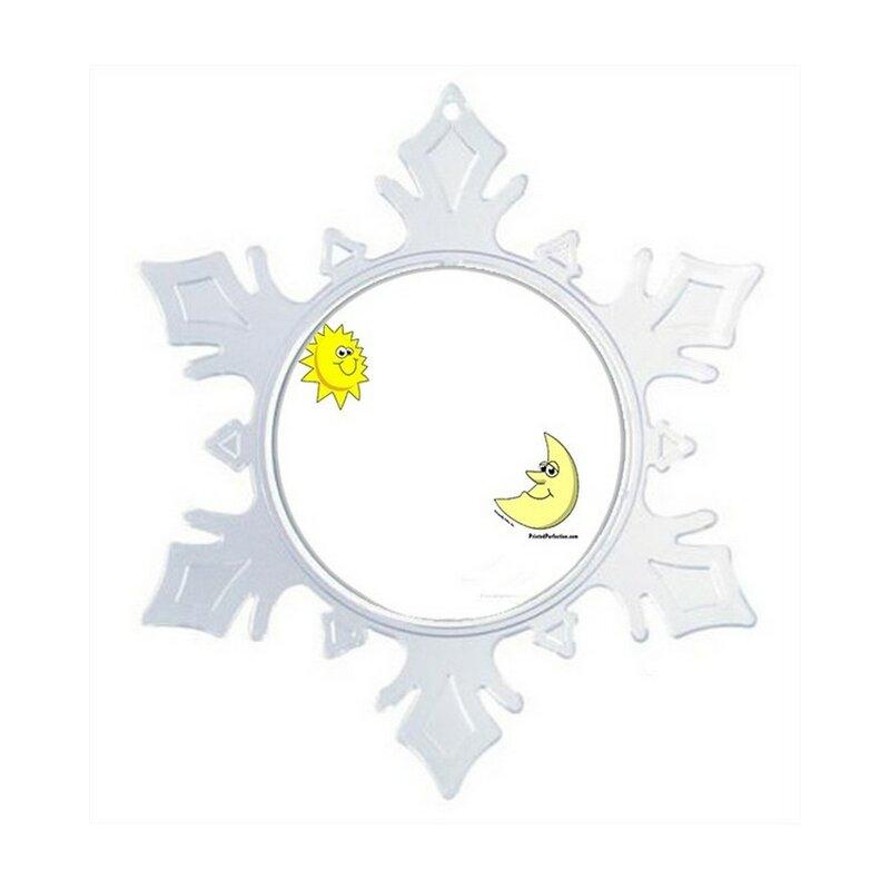The Holiday Aisle Personalized Friendly Folks Cartoon Snowflake Sun And Moon Christmas Holiday Shaped Ornament Wayfair