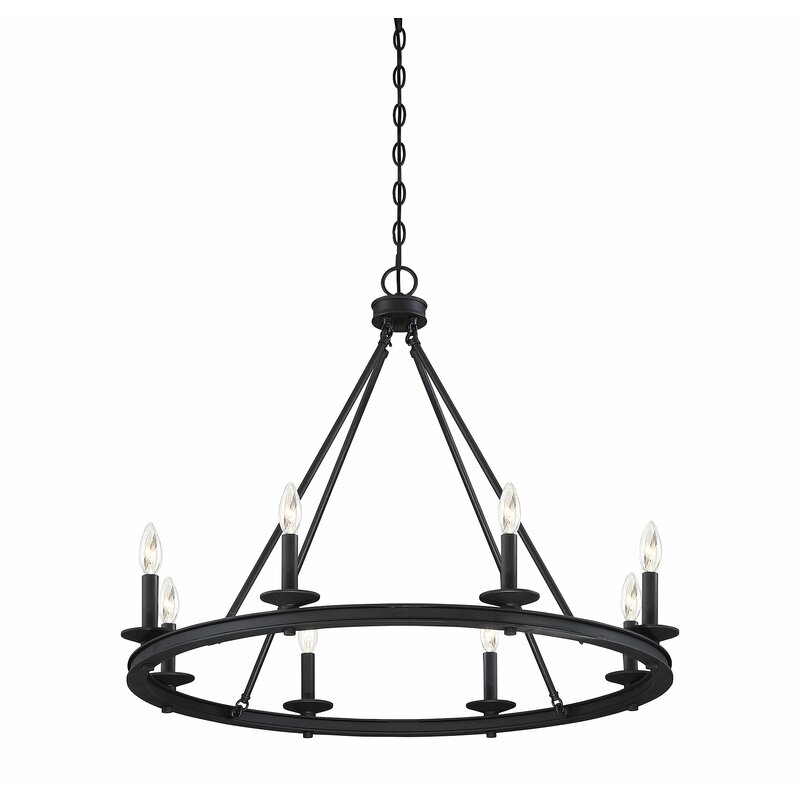 Poynor 8 - Light Candle Style Wagon Wheel Chandelier