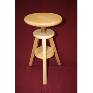 Wooden Adjustable Height Swivel Bar Stool by
