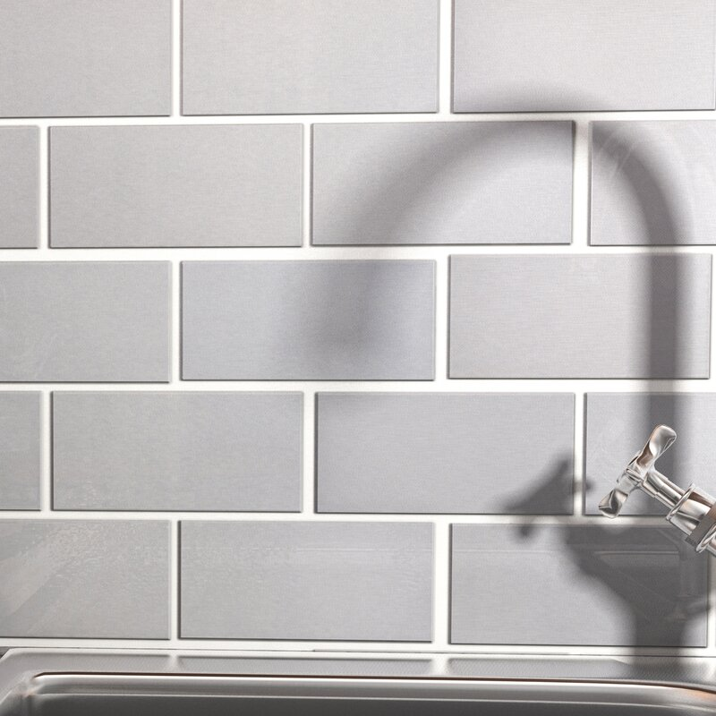 Elitetile Vulcan 3 X 6 Stainless Steel And Porcelain Subway Tile