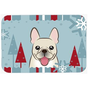 Winter Holiday French Bulldog Glass Cutting Board By Caroline's Treasures