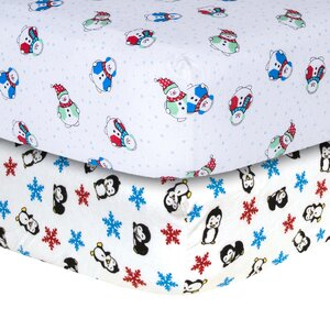 Snowman and Penguin Print Flannel Fitted Crib Sheet Set (Set of 2)