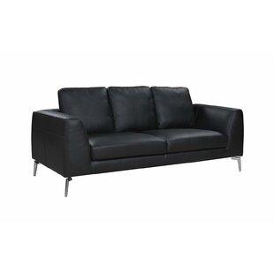 Orren Ellis Wrayon Mid-Century Modern Plush Top Grain Leather Sofa