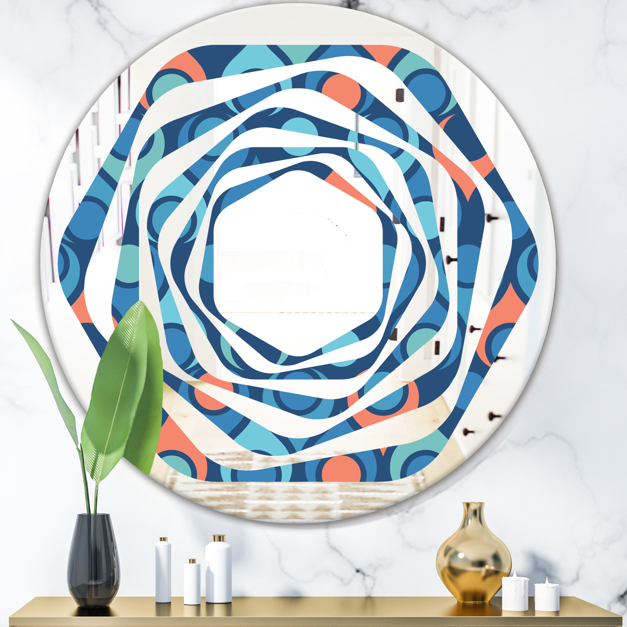 East Urban Home Abstract Drops X Whirl Modern Contemporary Frameless Wall Mirror Wayfair