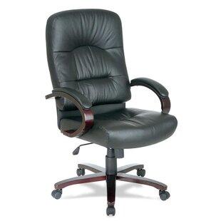 Lorell Woodbridge Series Leather Executive Chair