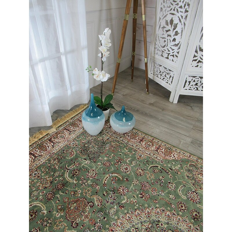 Astoria Grand Shanelle Living Room Hand Knotted Silk Green Rug Reviews Wayfair
