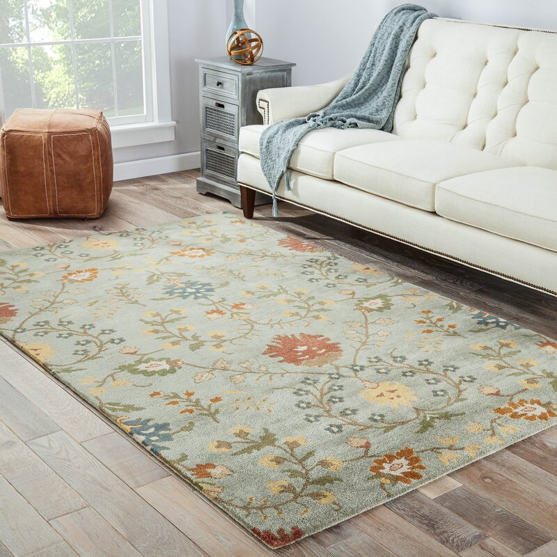Carlotta Blue Floral Wool Hand Tufted Area Rug
