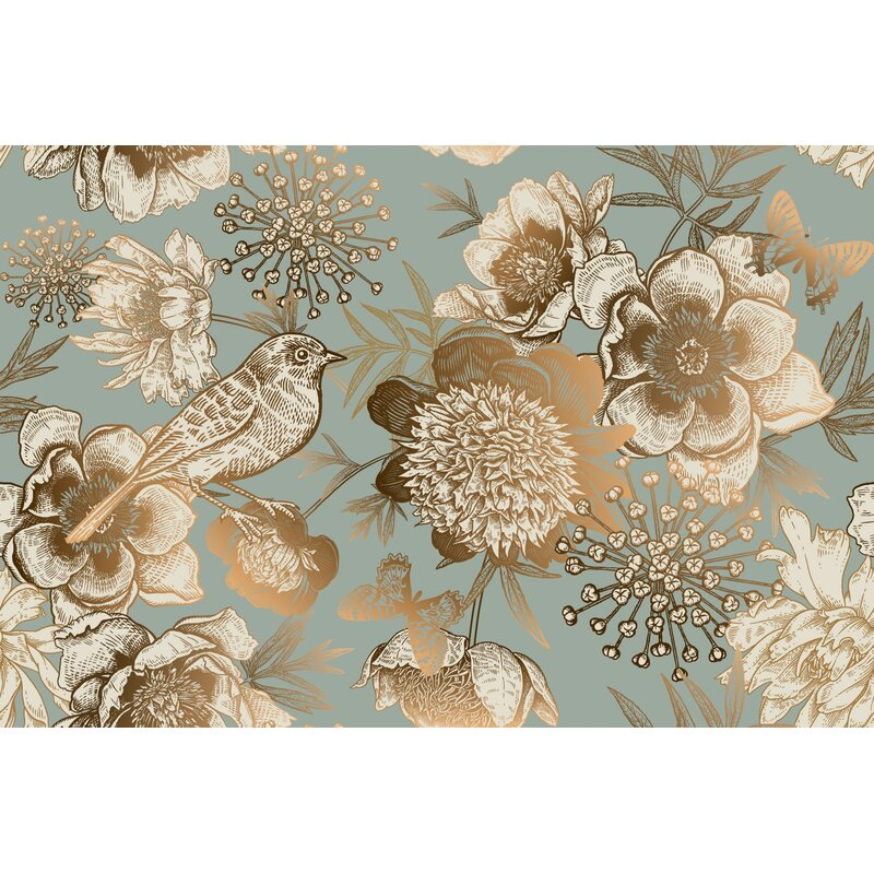 Removable Water-Activated Wallpaper Damask Parrot Bird Rococo Ornate Gold