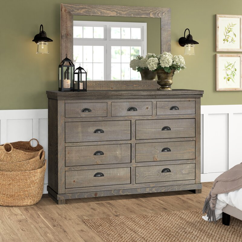 Woodson 9 Drawer Chest With Mirror Reviews Birch Lane