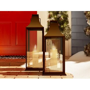 Metal and Glass Lantern by Three Posts