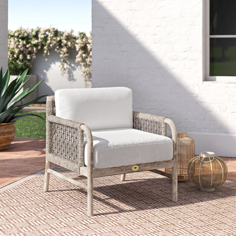 Villegas Teak Patio Chair With Cushions Joss Main