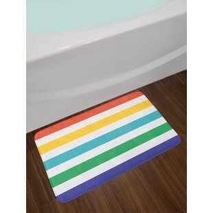 Rainbow Multicolor Striped Bath Rug